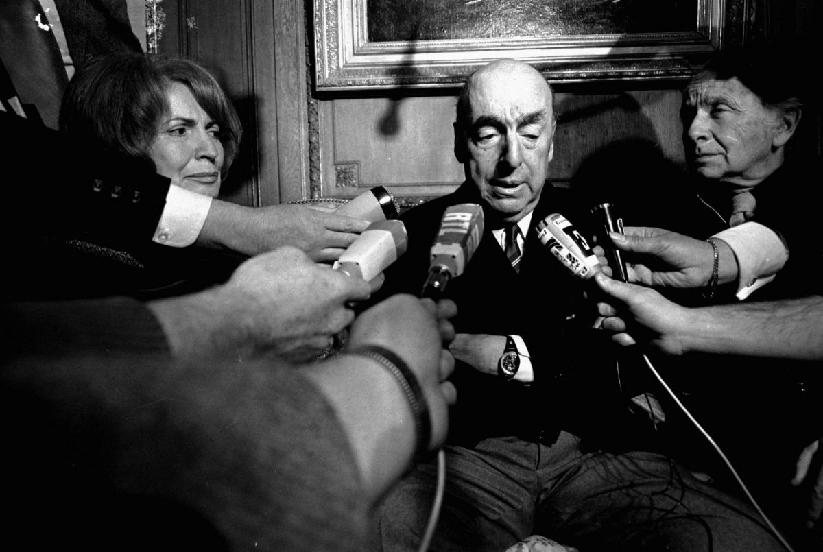 Pablo Neruda Pablo Neruda, poet and then Chilean ambassador to France, talks with reporters in Paris after being awarded the 1971 Nobel Prize for Literature. The Chilean government announced, that it will join the DNA investigation in an effort to discover if he died from prostate cancer as was recorded, or if he was poisoned by agents of Gen. Augusto Pinochet's dictatorship, as his driver and others believe 21 Oct 1971