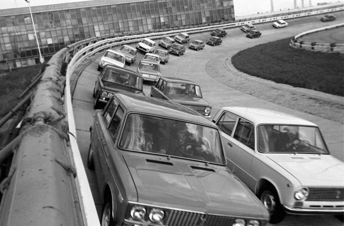 Lada cars in the Volga Autoworks or VAZ testing grounds