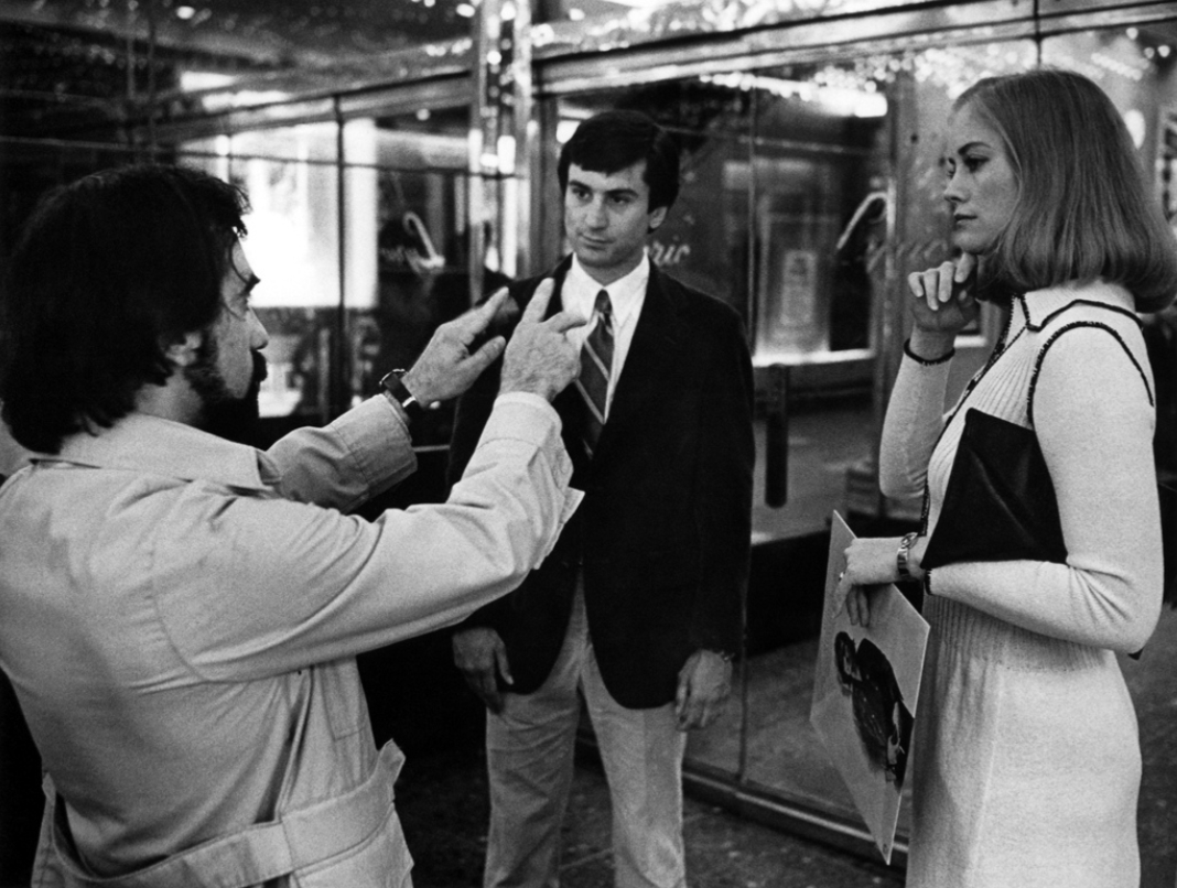 Martin Scorsese, Robert De Niro, and Cybill Shepherd on the set of Taxi Driver