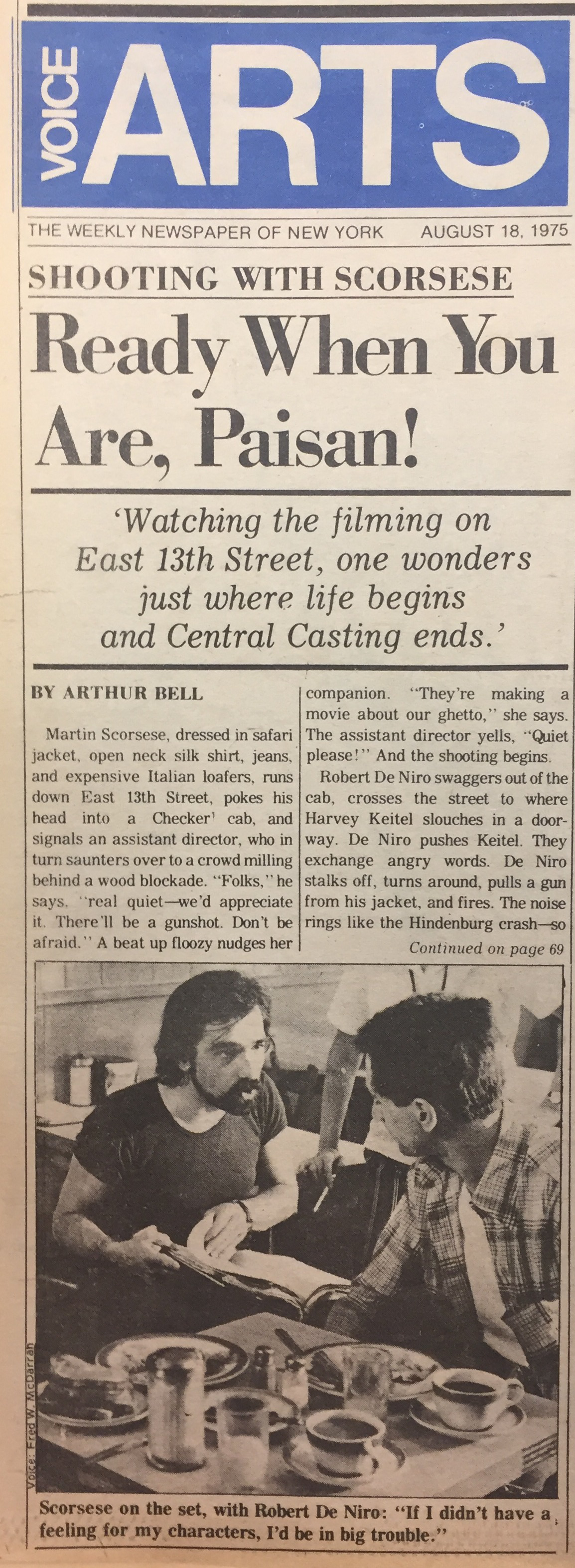 1975 Village Voice article about Taxi Driver filming