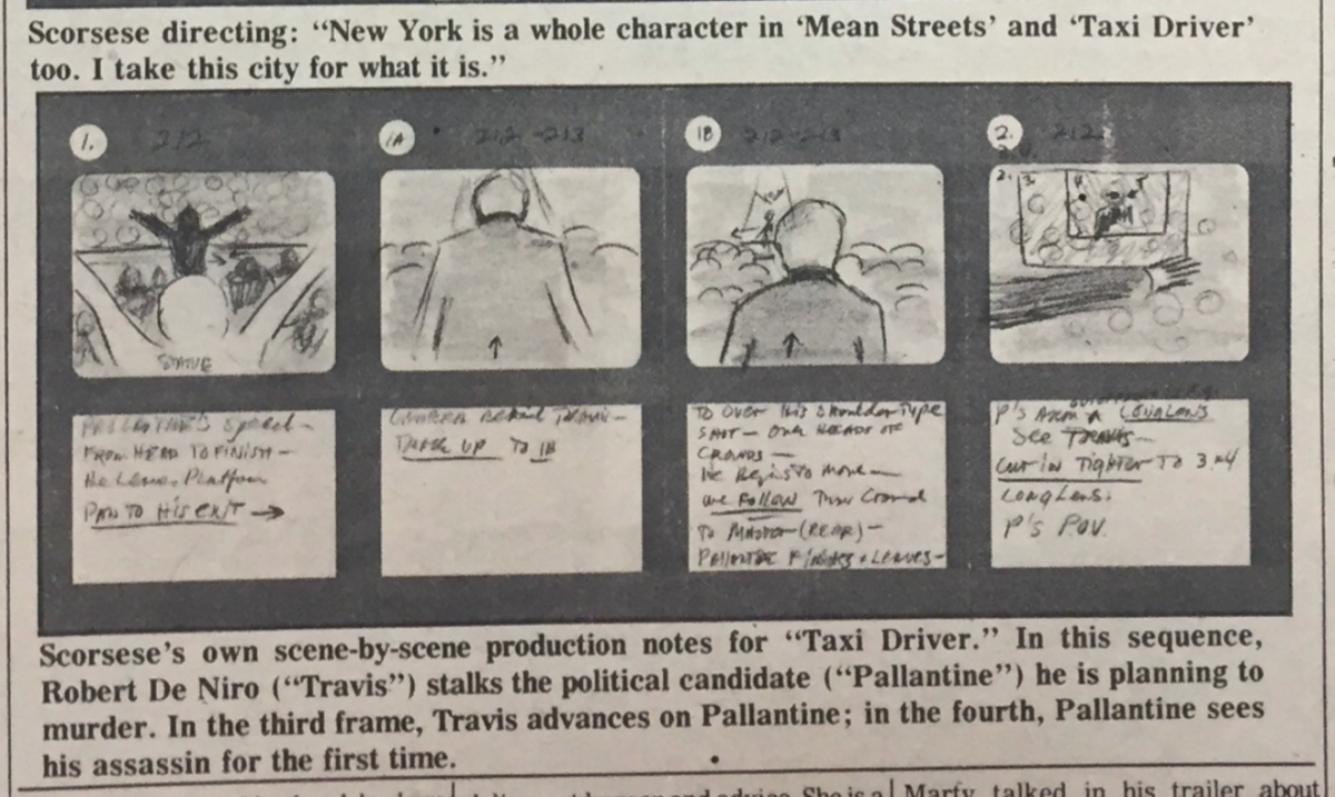 Martin Scorsese's Taxi Driver Storyboards