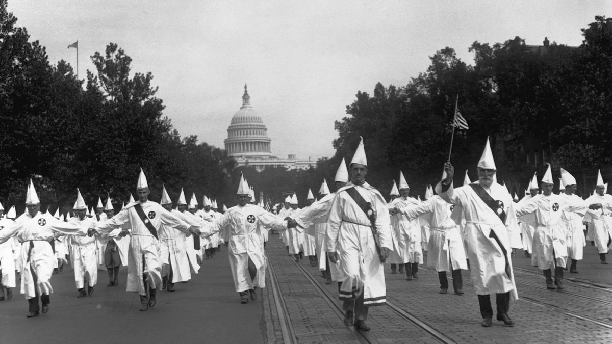 Ku Klux Klan members hold a march in Washington, D.C., on Aug. 9, 1925.