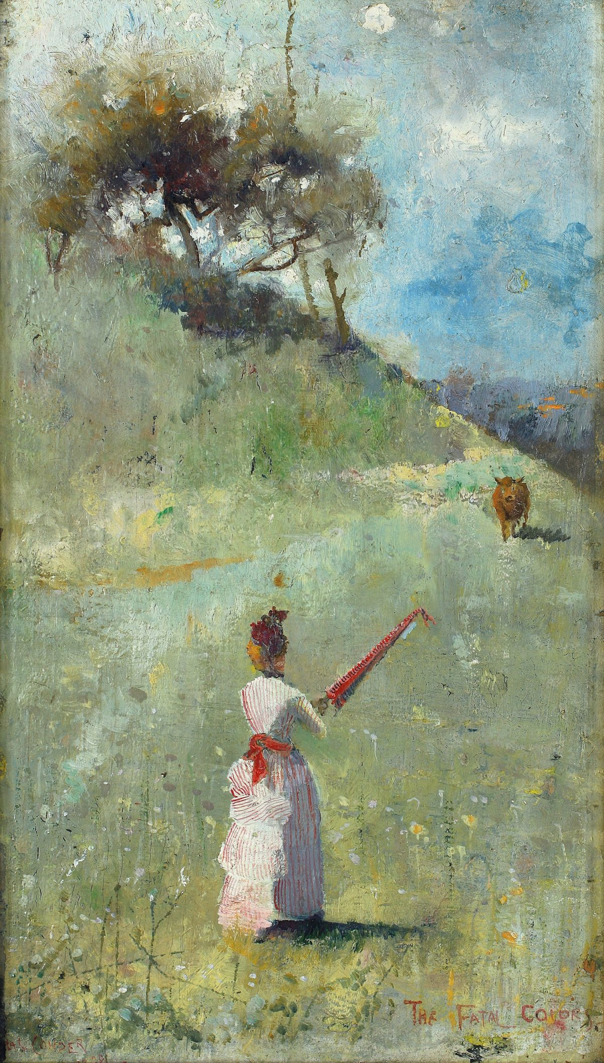 Charles Conder, painting, red, bull