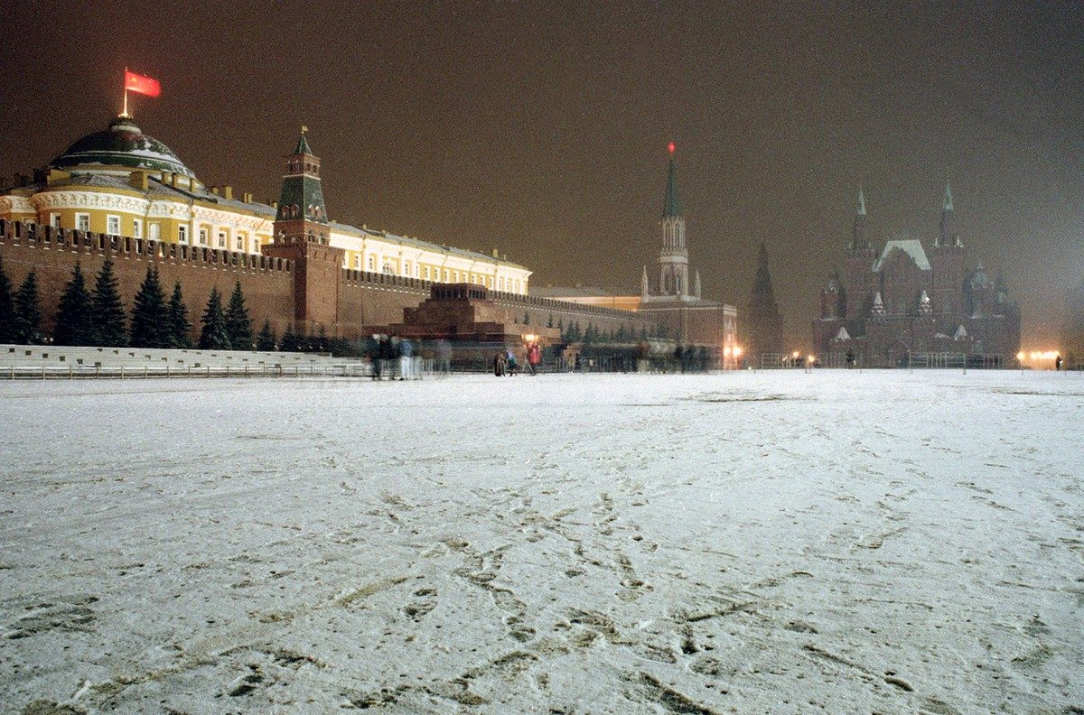 For one of the last times, the Soviet flag flies over the Kremlin at Red Square in Moscow, on Saturday night, December 21, 1991. The flag was replaced by the Russian flag on New Year's