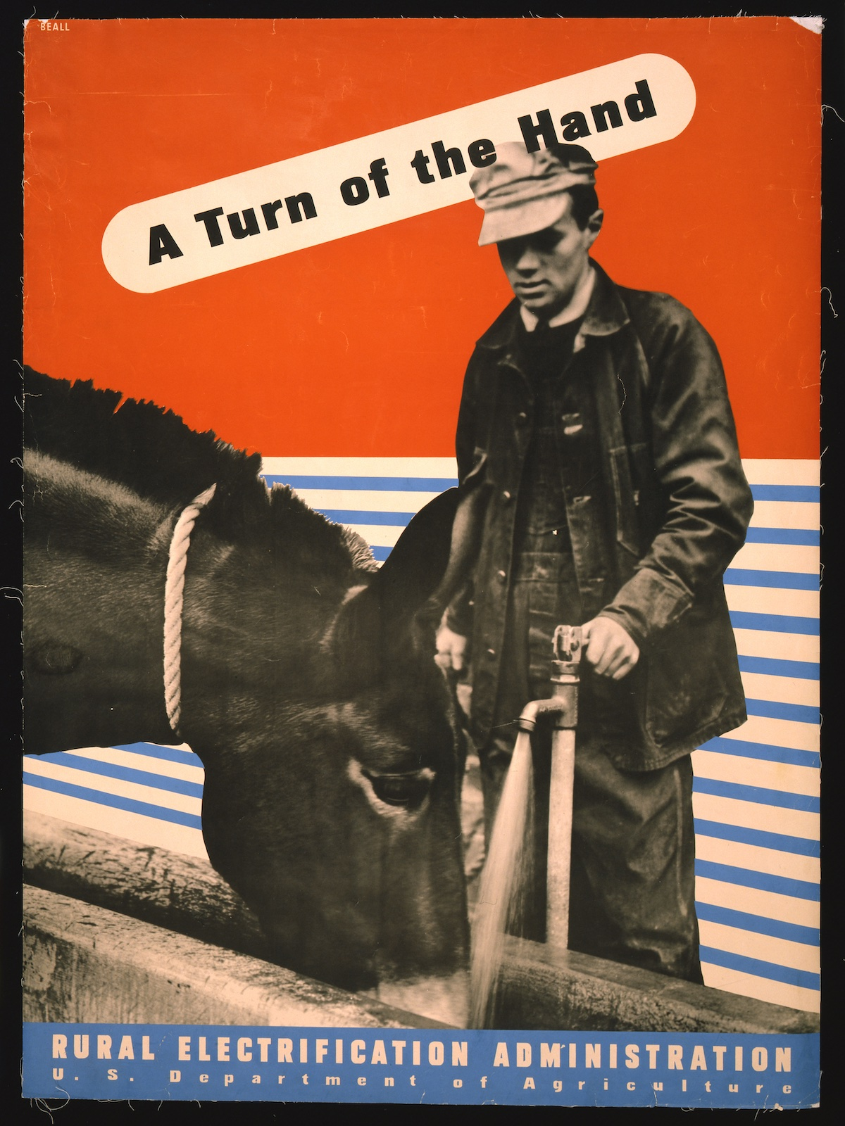 'A turn of the hand' Rural Electrification poster by Lester Beall - 1930