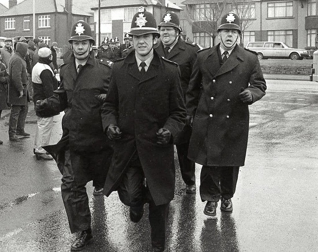 South Wales police at the begining of the Miners strike, 1984