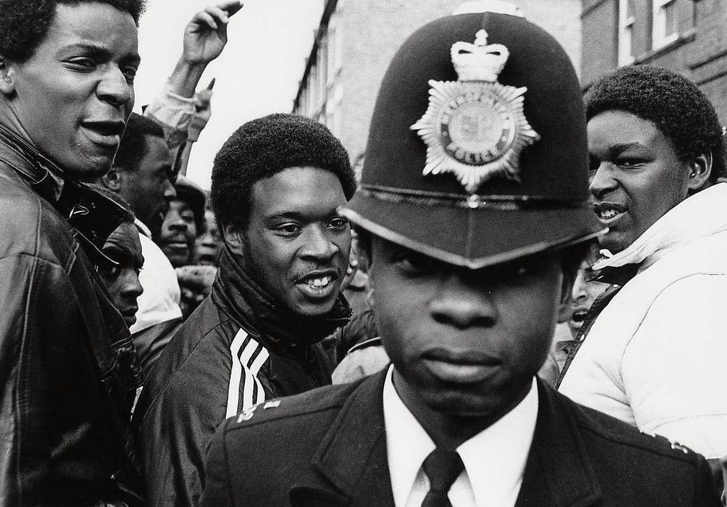 This was a protest in support of the Newham 7, black and asian youth who had been fighting with fascists - London, 1985 - black police