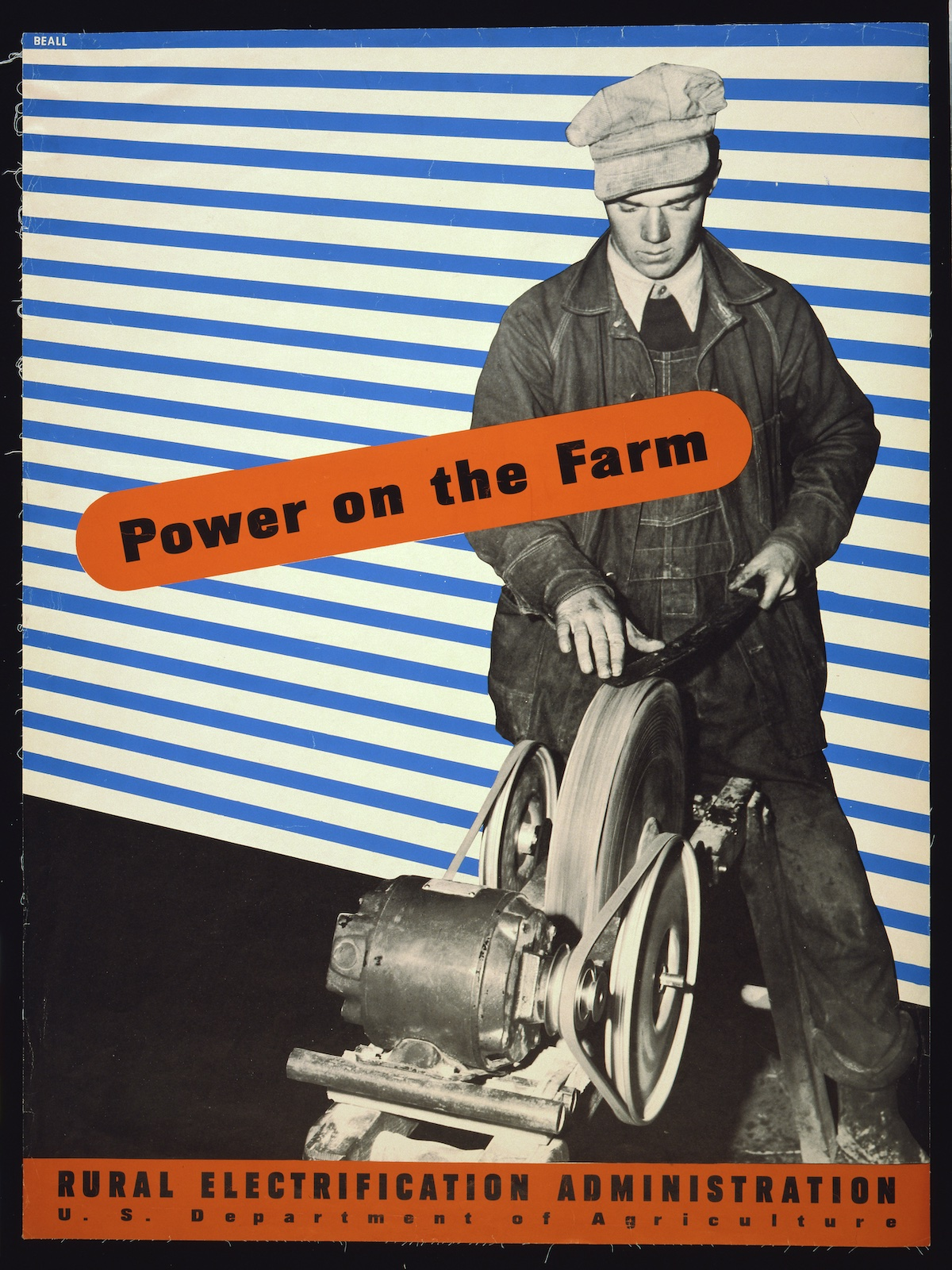 'Power on the farm' Rural Electrification poster by Lester Beall - 1930