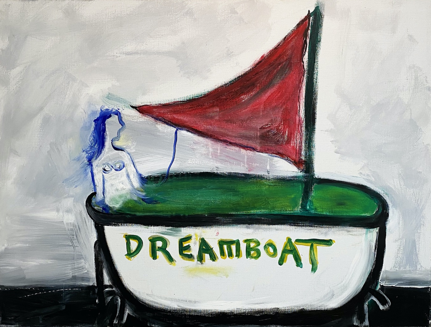 "Lawrence Ferlinghetti, ""Dreamboat"" (2006), oil and acrylic on canvas, 30 x 40 inches"