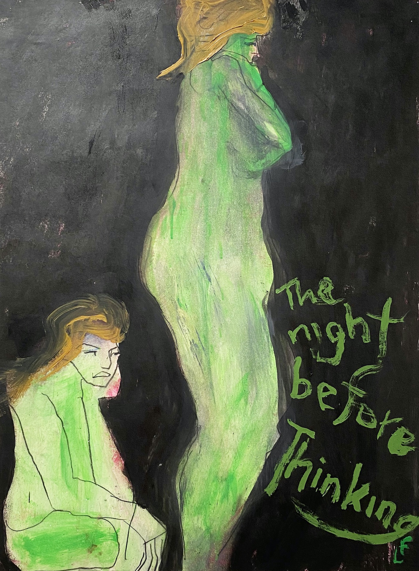 "Lawrence Ferlinghetti, ""The Night Before Thinking"" (1990), oil paint and black conte stick on paper, 23 3⁄four x 18 inches; 30 x 24 inches matted"