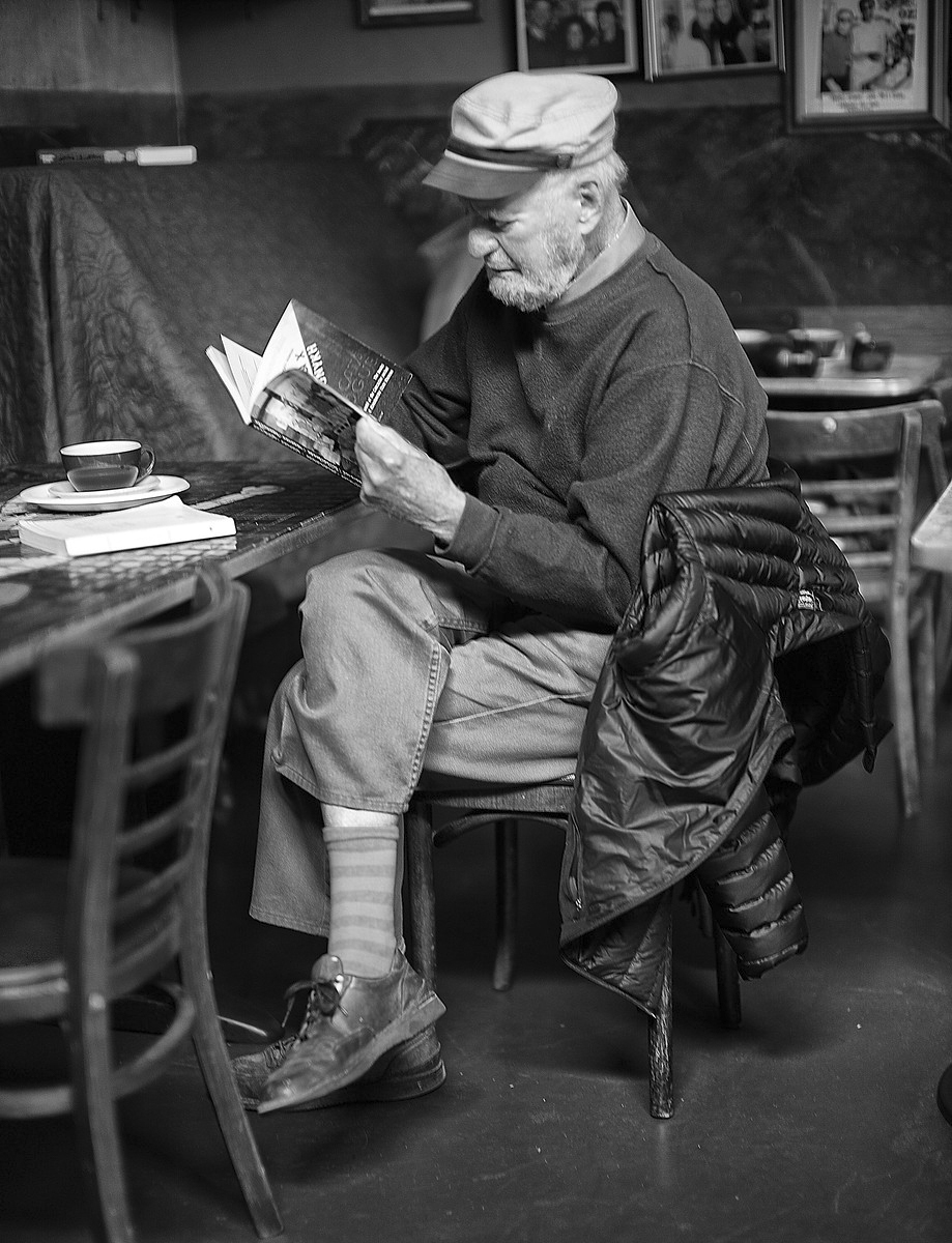 Lawrence Ferlinghetti at Caffe Trieste in 2012 by Christopher Michel.
