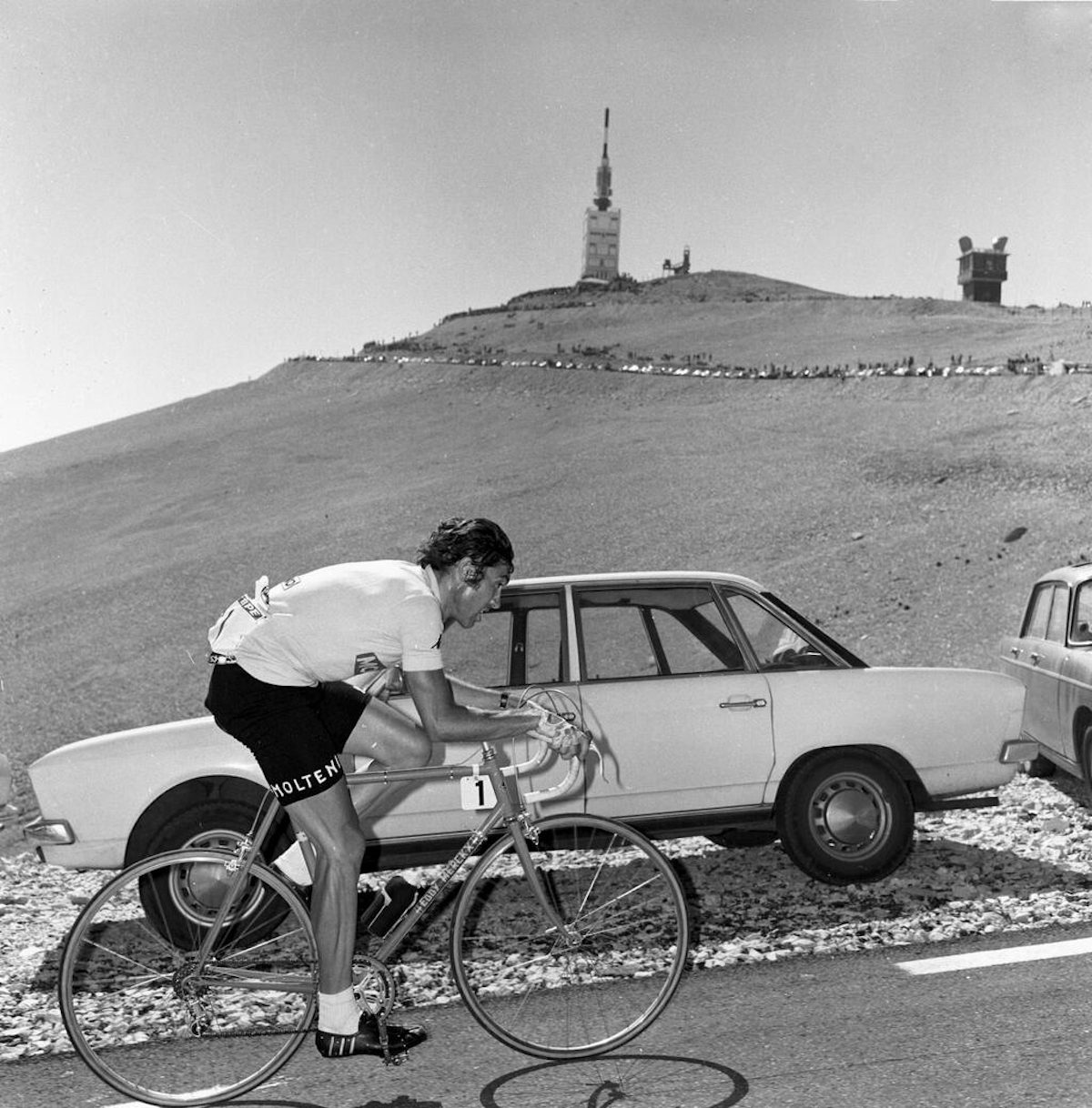 Eddy Mercx conquering the Mount Ventoux in 1969