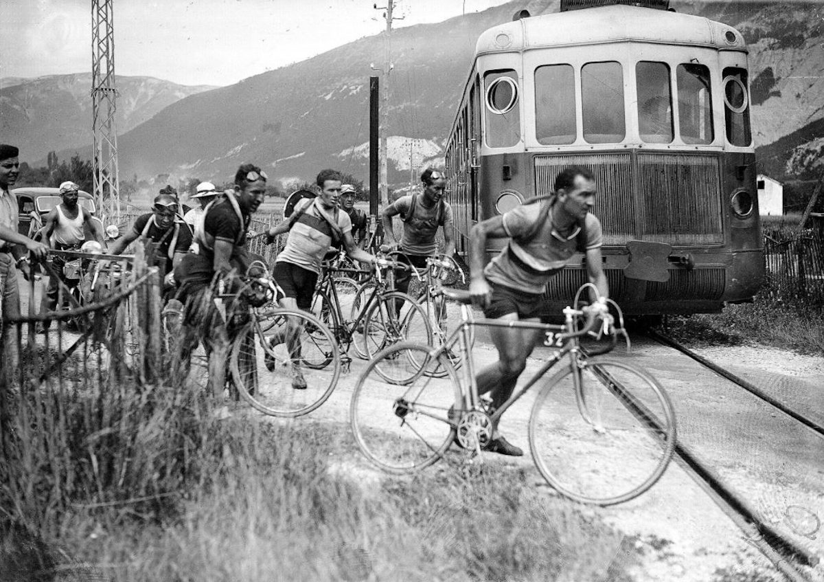 Roger Lapebie (pictured right) achieved the overall victory in the 1937 edition of Tour de France. Lapebie managed to pass a set of railroad tracks here while his pursuers did not.
