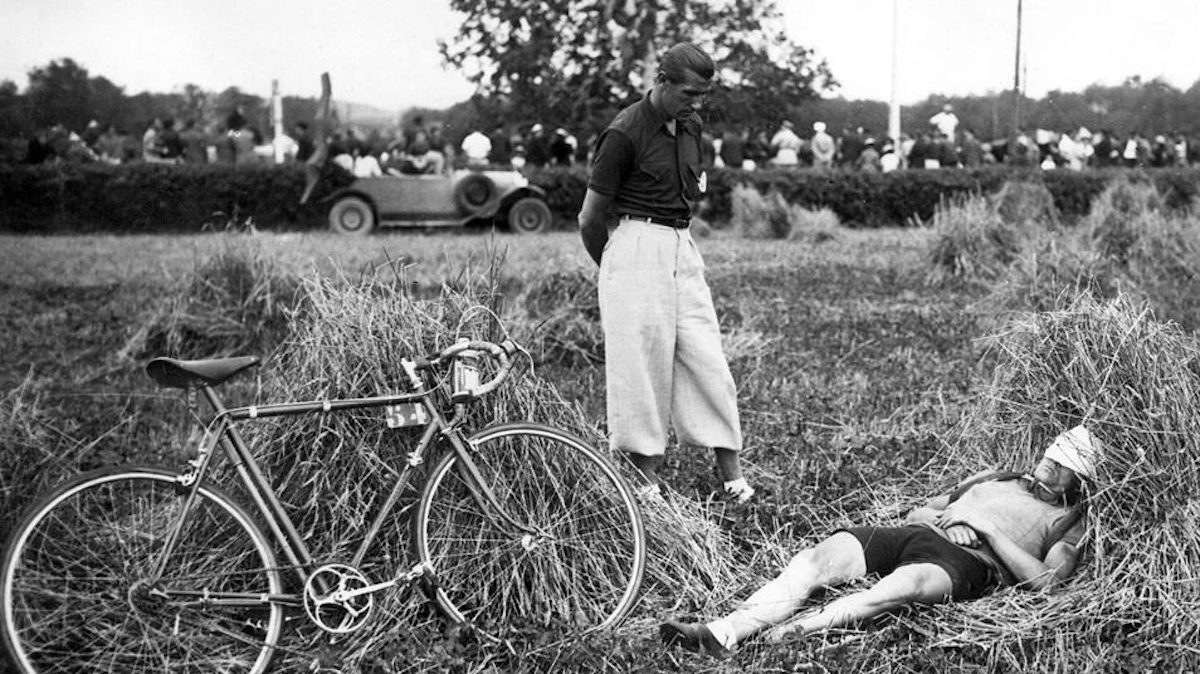 French cyclist Amedeé Fournier resting during the 1939 Tour de France