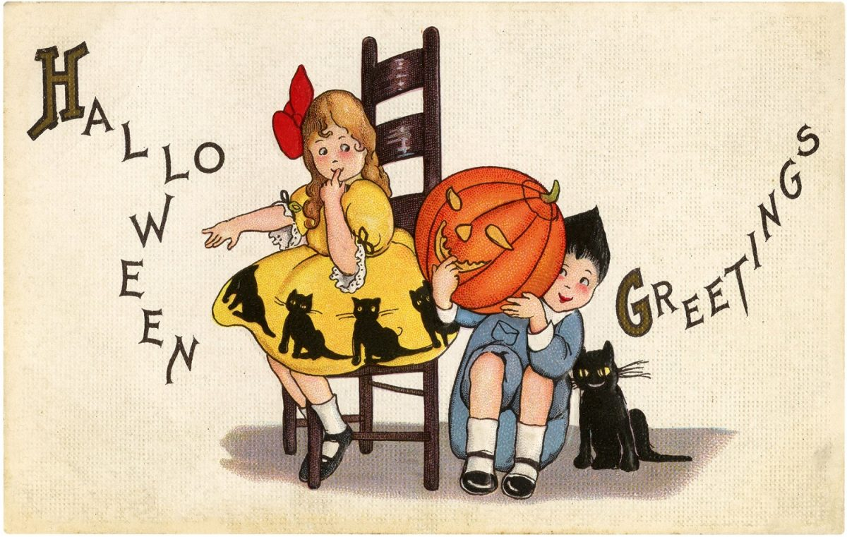 Halloween, greeting card, vintage, illustration