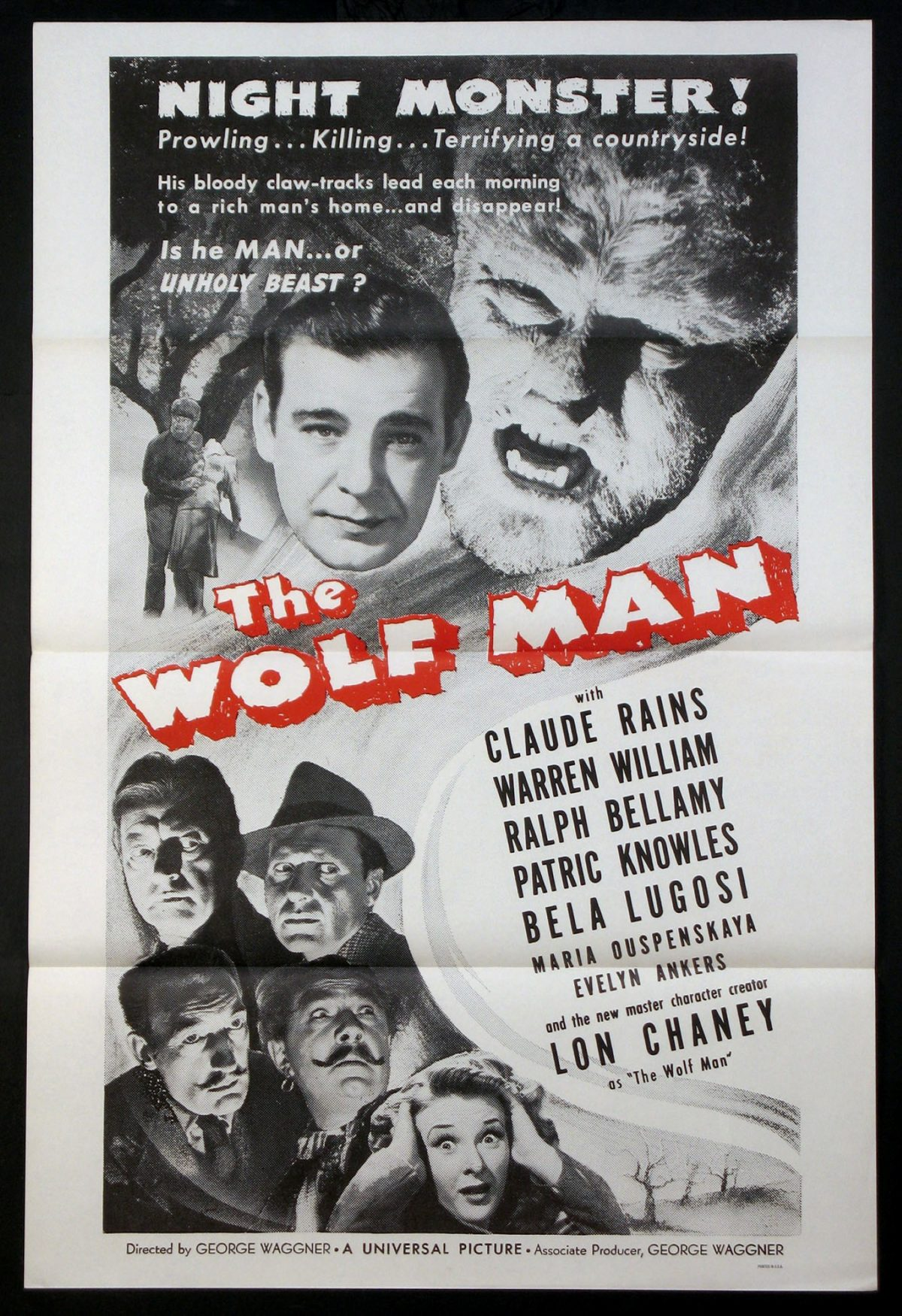 Wolfman, Lon Chaney jr, horror, werewolf, film