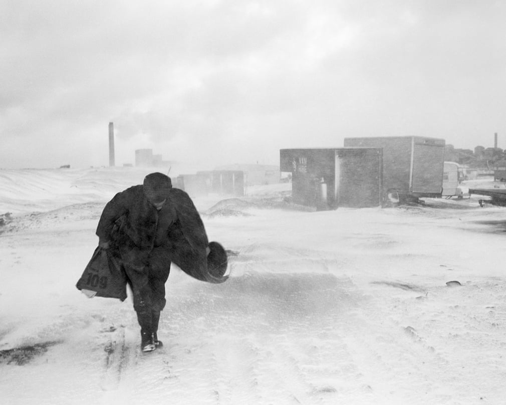 Cookie in the Snow, Seacoal Camp, Lynemouth, Northumberland, 1984 Photograph- Photograph by Chris Killip