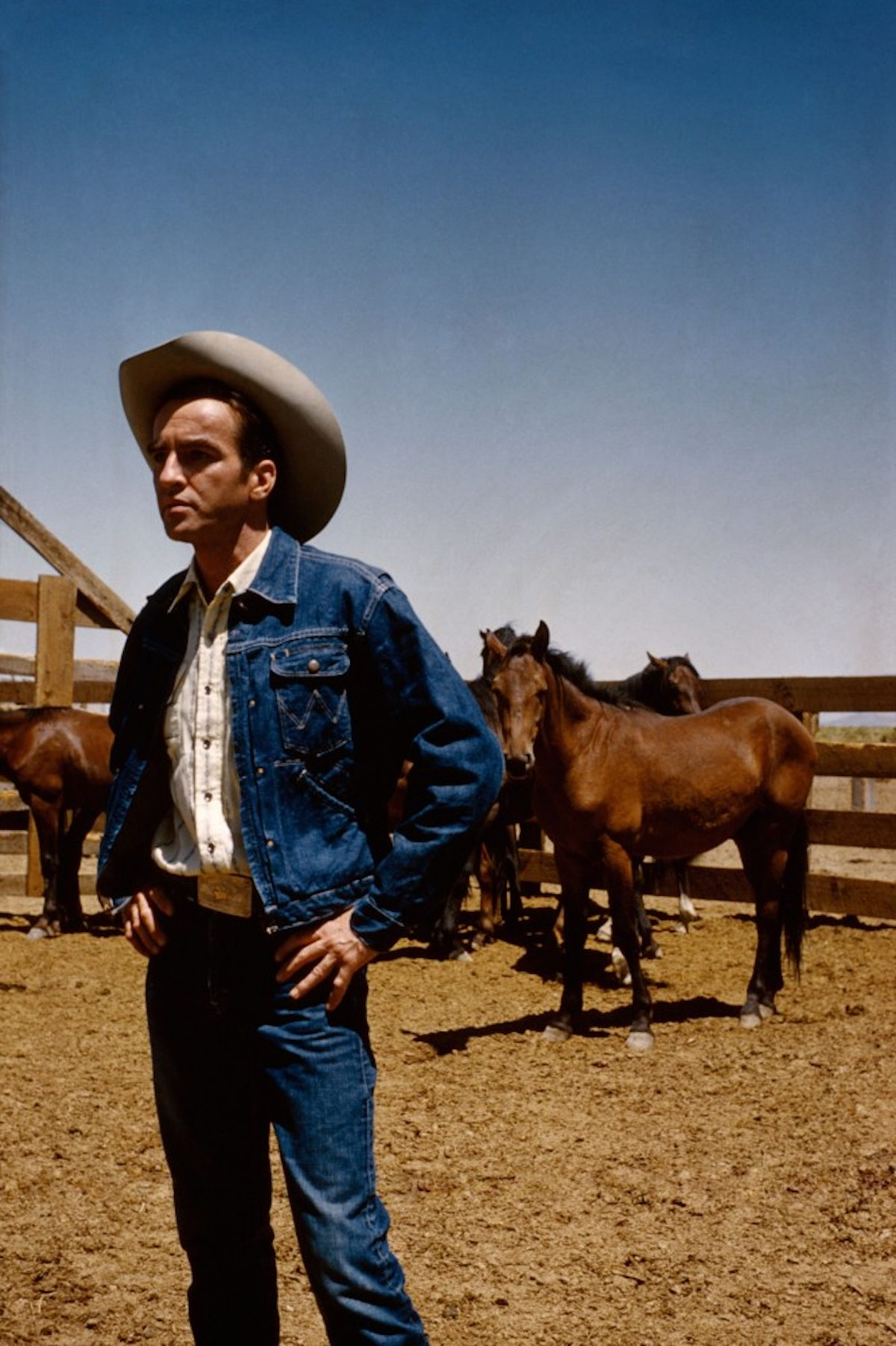 "USA. Reno, Nevada. 1960. Montgomery CLIFT on the set of ""The Misfits."""
