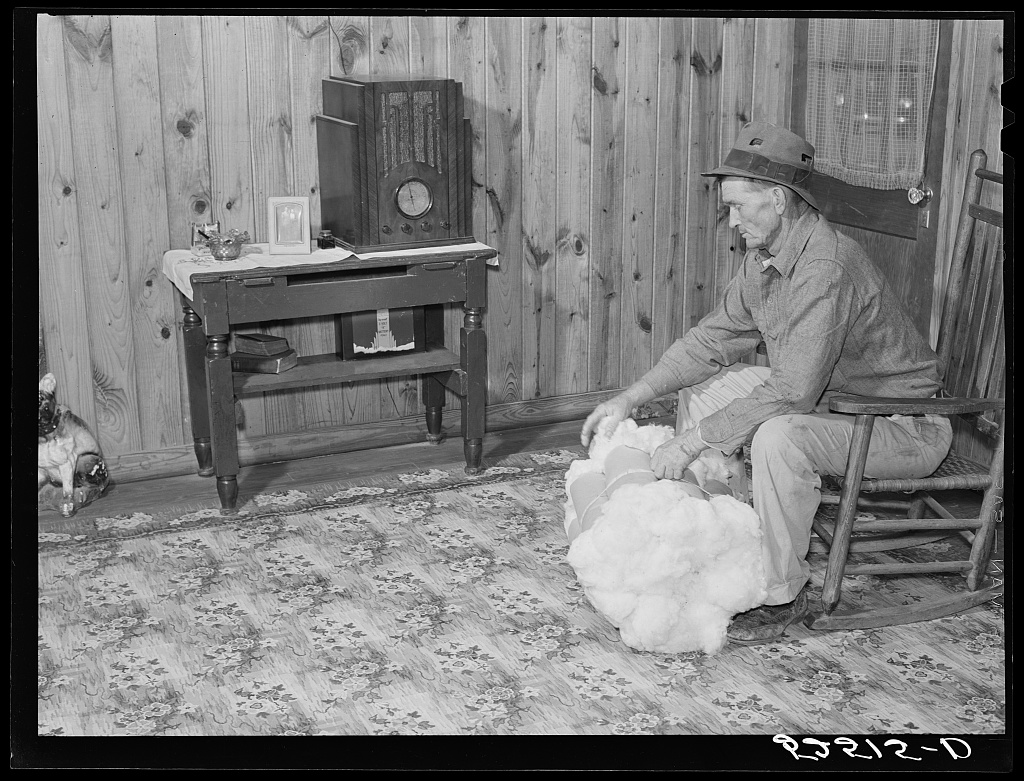 Project farmer with his cotton samples in the living room of his new home. Sunflower Plantations, Merigold, Mississippi Delta Contributor Names Wolcott, Marion Post, 1910-1990, photographer Created / Published 1939 Nov.