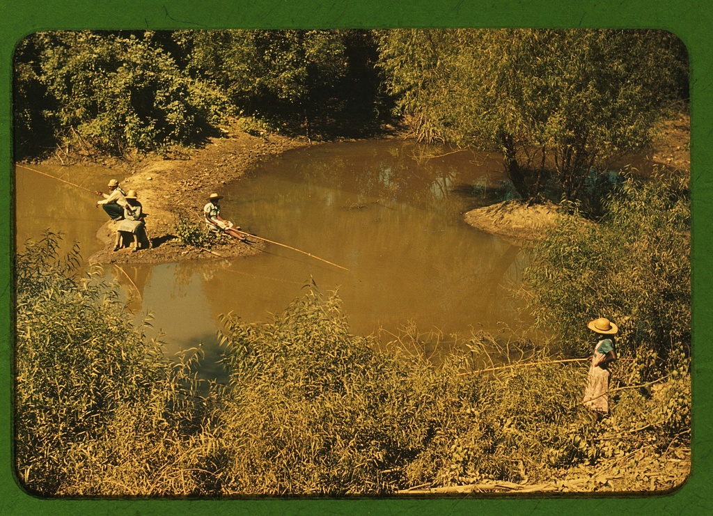 fishing in creek near cotton plantations outside Belzoni, Miss. Delta Contributor Names Wolcott, Marion Post, 1910-1990, photographer Created / Published 1939 Oct.