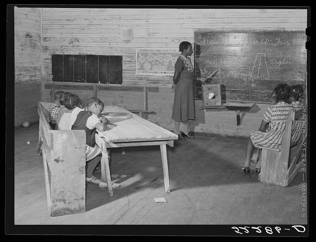 Interior of school on Mileston Plantation. School begins very late in the year and the attendance is poor until December because the children pick cotton. Mileston, Mississippi Delta, Mississippi Contributor Names Wolcott, Marion Post, 1910-1990, photographer Created / Published 1939 Nov.
