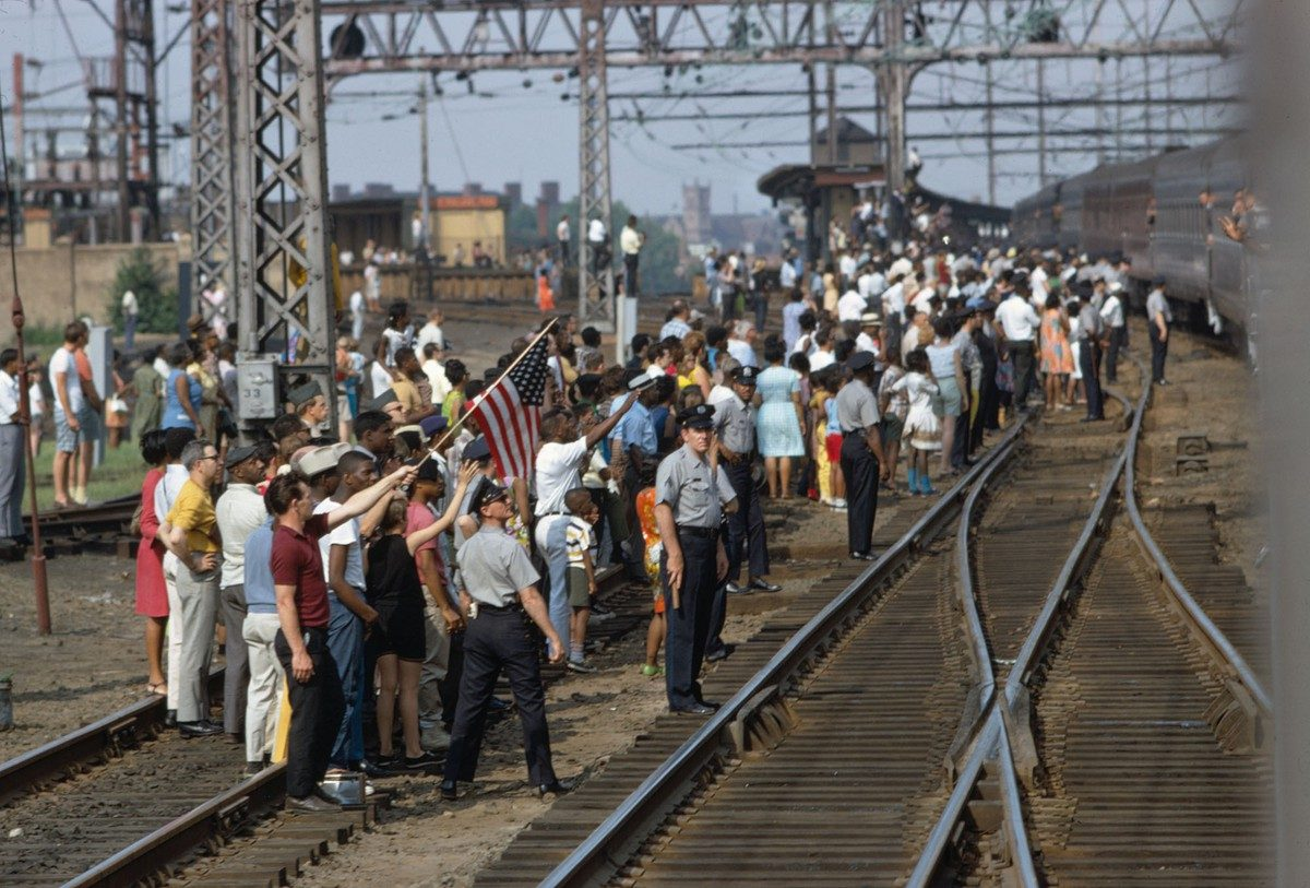 Mourners Watching Robert F. Kennedy's Funeral Train Pass By From New York City to Washington DC on June 8 1968