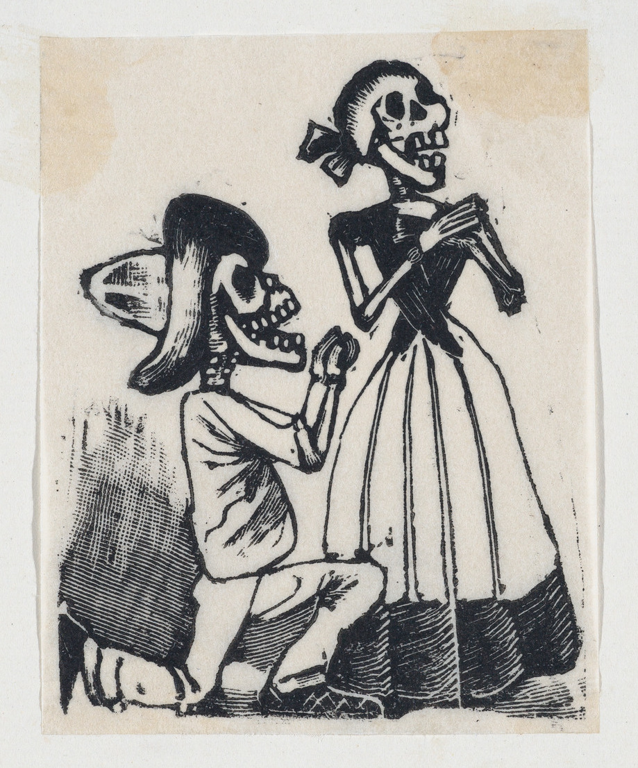 A male skeleton on his knees before a female skeleton (vignette for the feast of the dead) ca. 1890–1910 José Guadalupe Posada