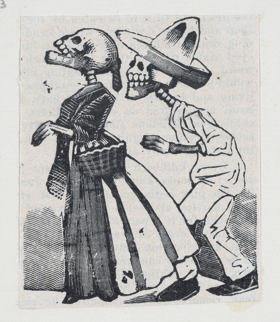 A male skeleton walking behind a female skeleton (vignette for the feast of the dead) ca. 1890–1910 José Guadalupe Posada
