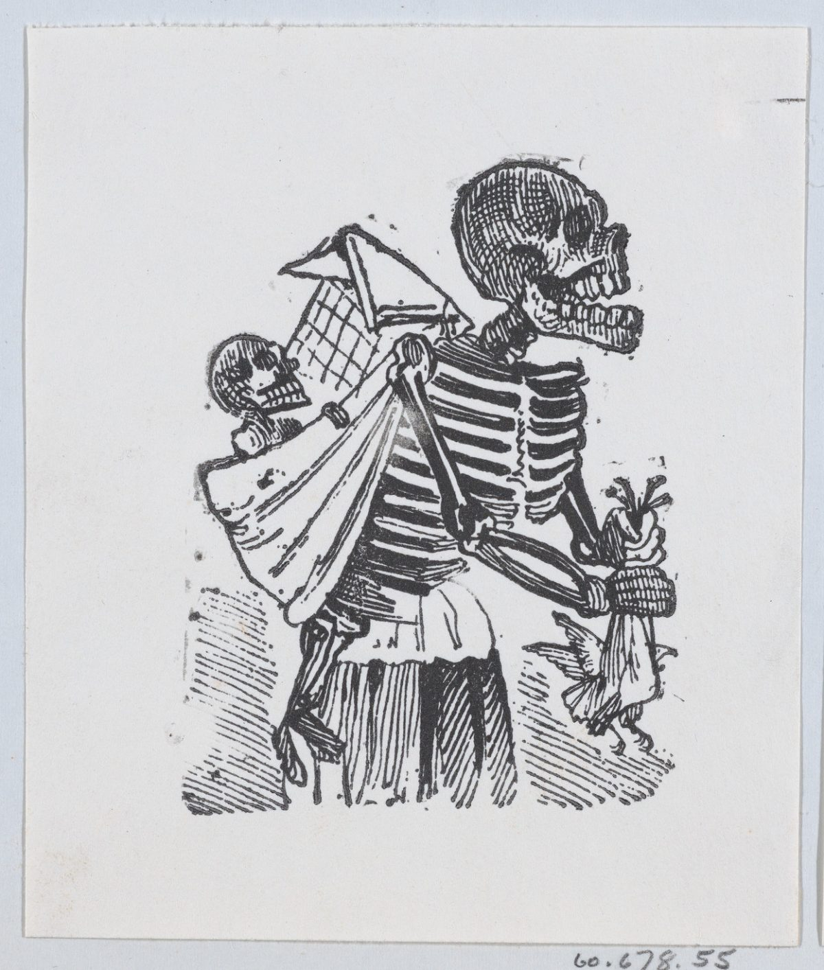 A skeleton picking crops in a field while carrying a baby skeleton on her back ca. 1880–1910 José Guadalupe Posada