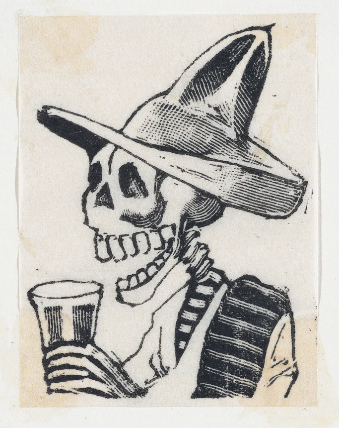 A skeleton wearing a hat having a drink (vignette for the feast of the dead) ca. 1890–1910 José Guadalupe Posada