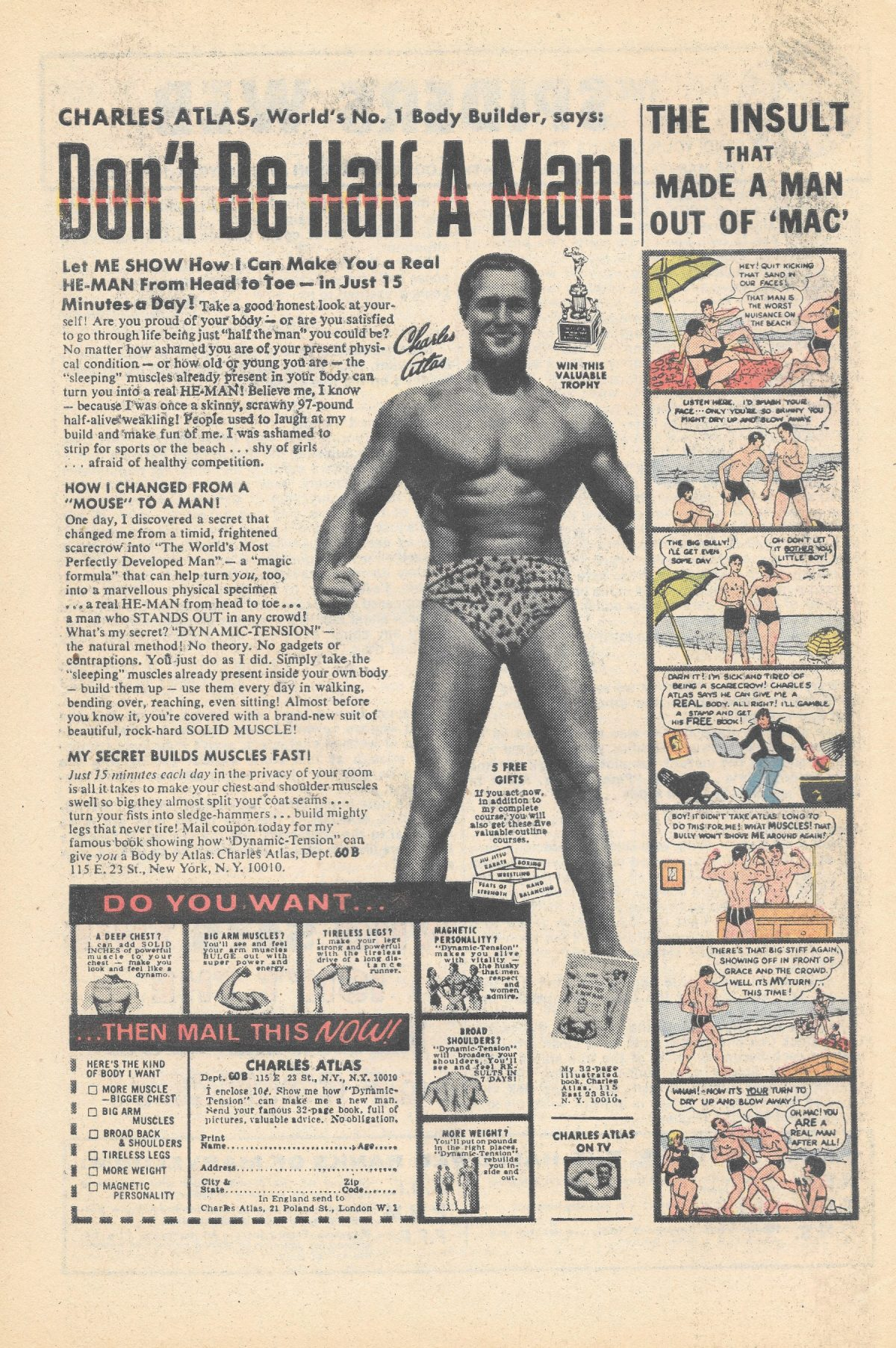 Charles Atlas, bodybuilding, adverts, comics Sea Monkeys, X-Ray Specs, comic book ads Harold von Braunhut