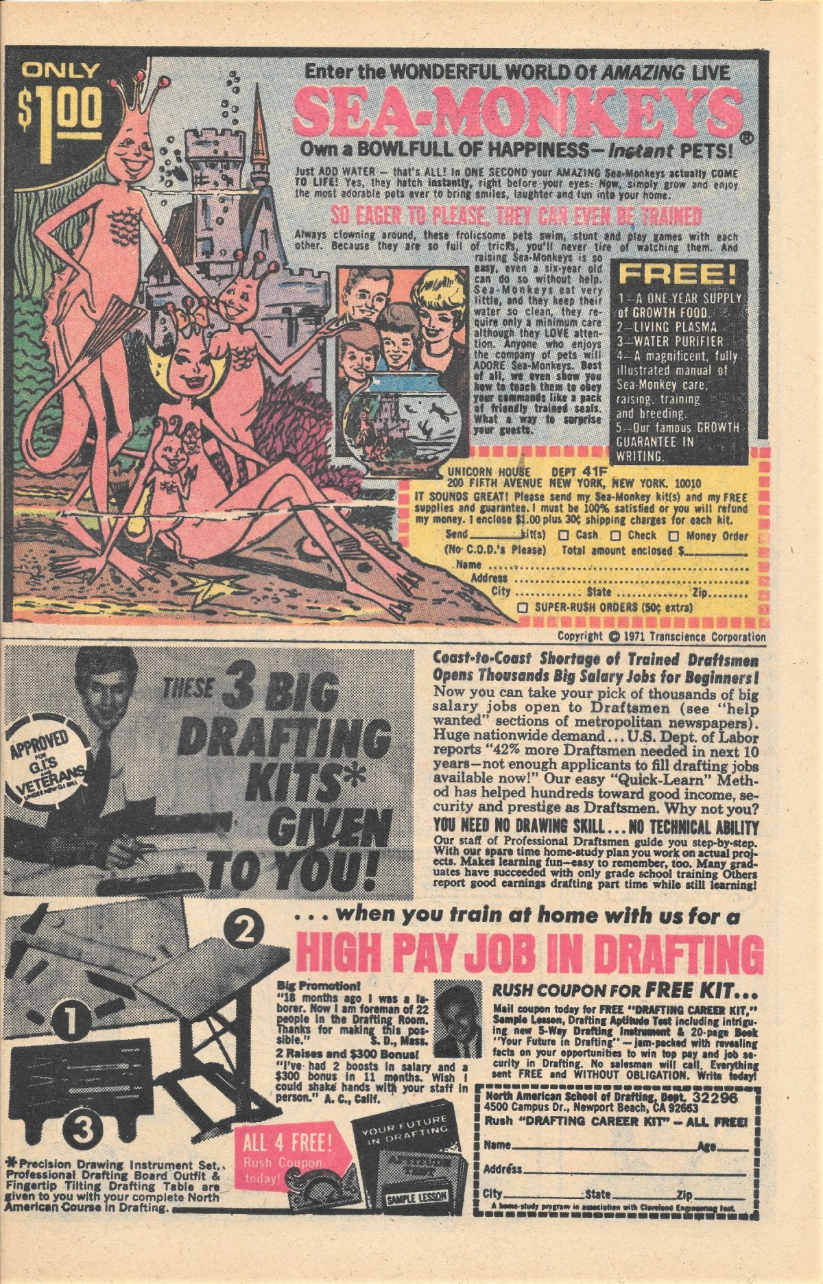 adverts, American, comics, 1960s, 1970s, sea monkeys , X-Ray Specs, comic book ads Harold von Braunhut