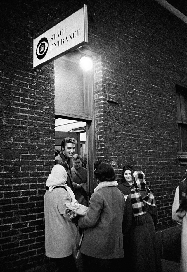 Elvis at Stage Door, CBS Studio 50, New York City. March 17, 1956.
