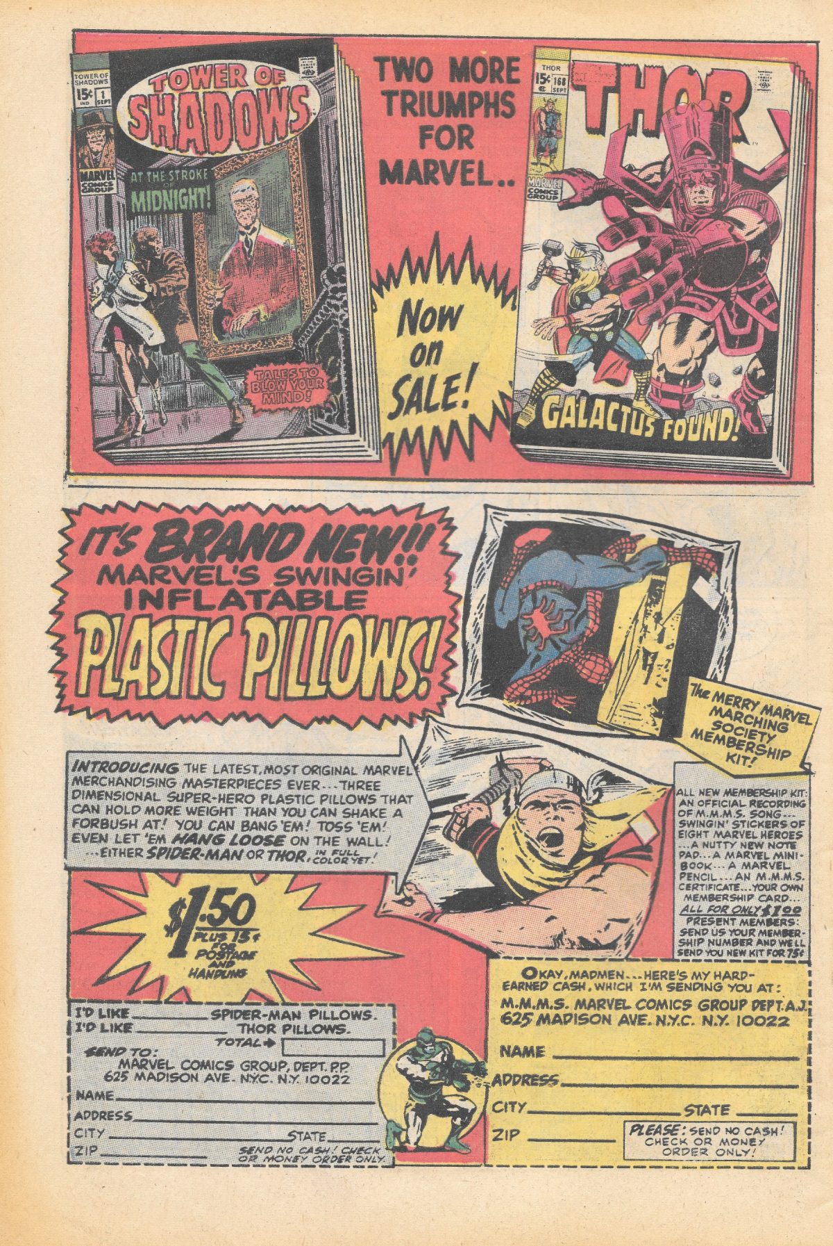adverts, American, comics, 1960s, 1970s, Thor, Spiderman, Marvel,