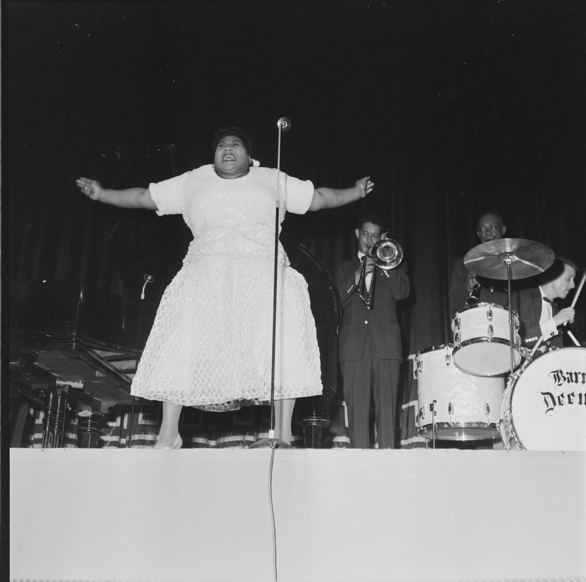 Barrett Deems performs with Louis Armstrong band and Velma Middleton in Oslo, Norway in 1955.