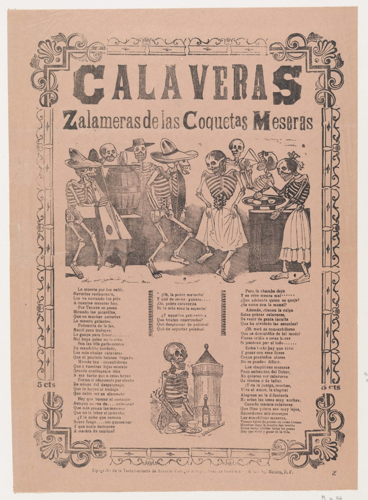 Skeletons (calaveras) dancing and drinking, corrida in bottom section Ca. 1910 José Guadalupe Posada