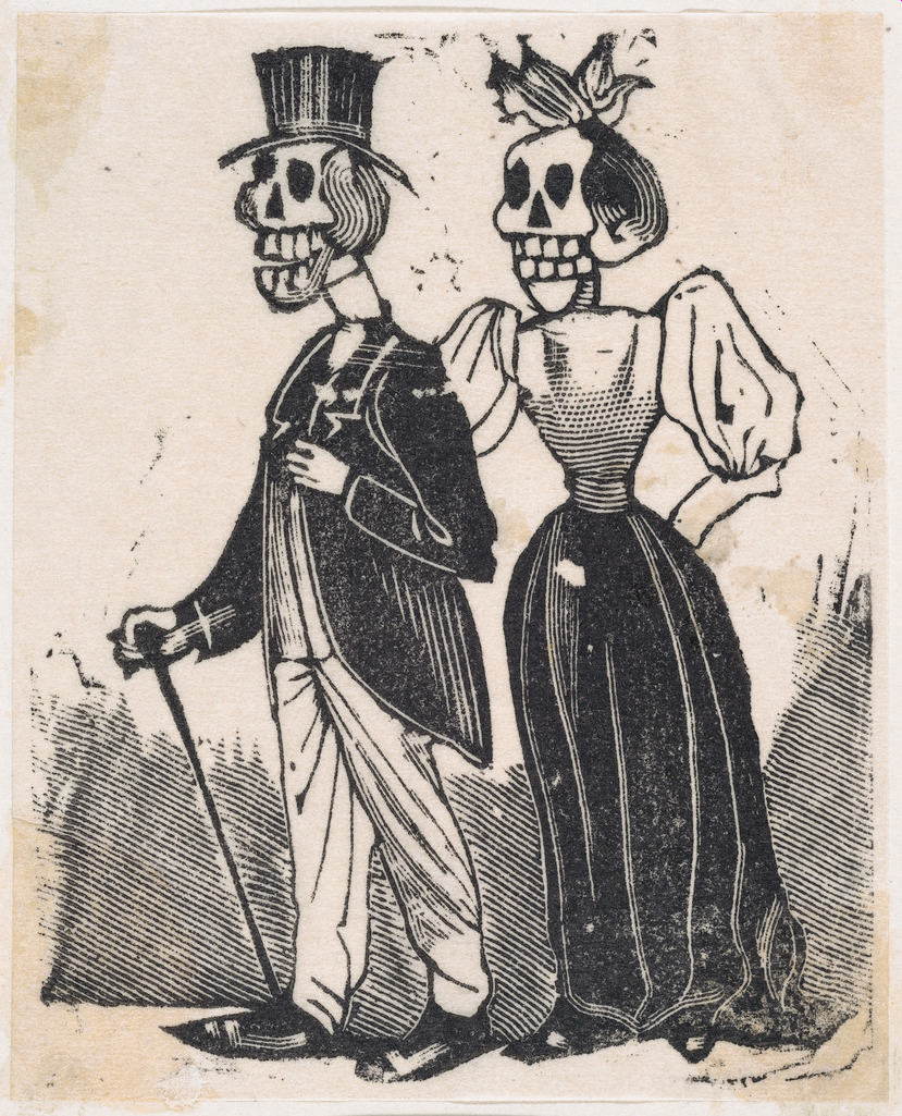 wo elegantly dressed skeletons walking, from a broadside entitled, 'El Gran Panteon Amoroso,' published by Antonio Vanegas Arroyo. ca. 1880–1910 José Guadalupe Posada