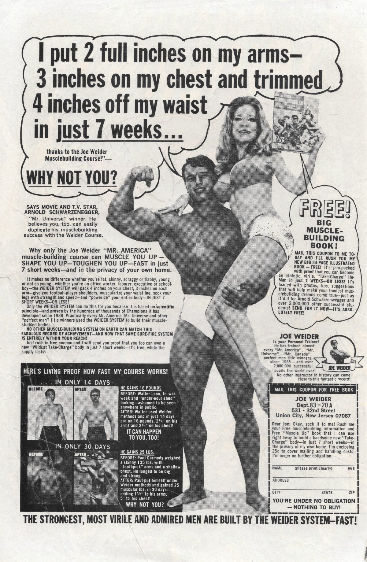 adverts, American, comics, 1960s, 1970s, Arnold Schwarzenegger, bodybuilding Sea Monkeys, X-Ray Specs, comic book ads Harold von Braunhut