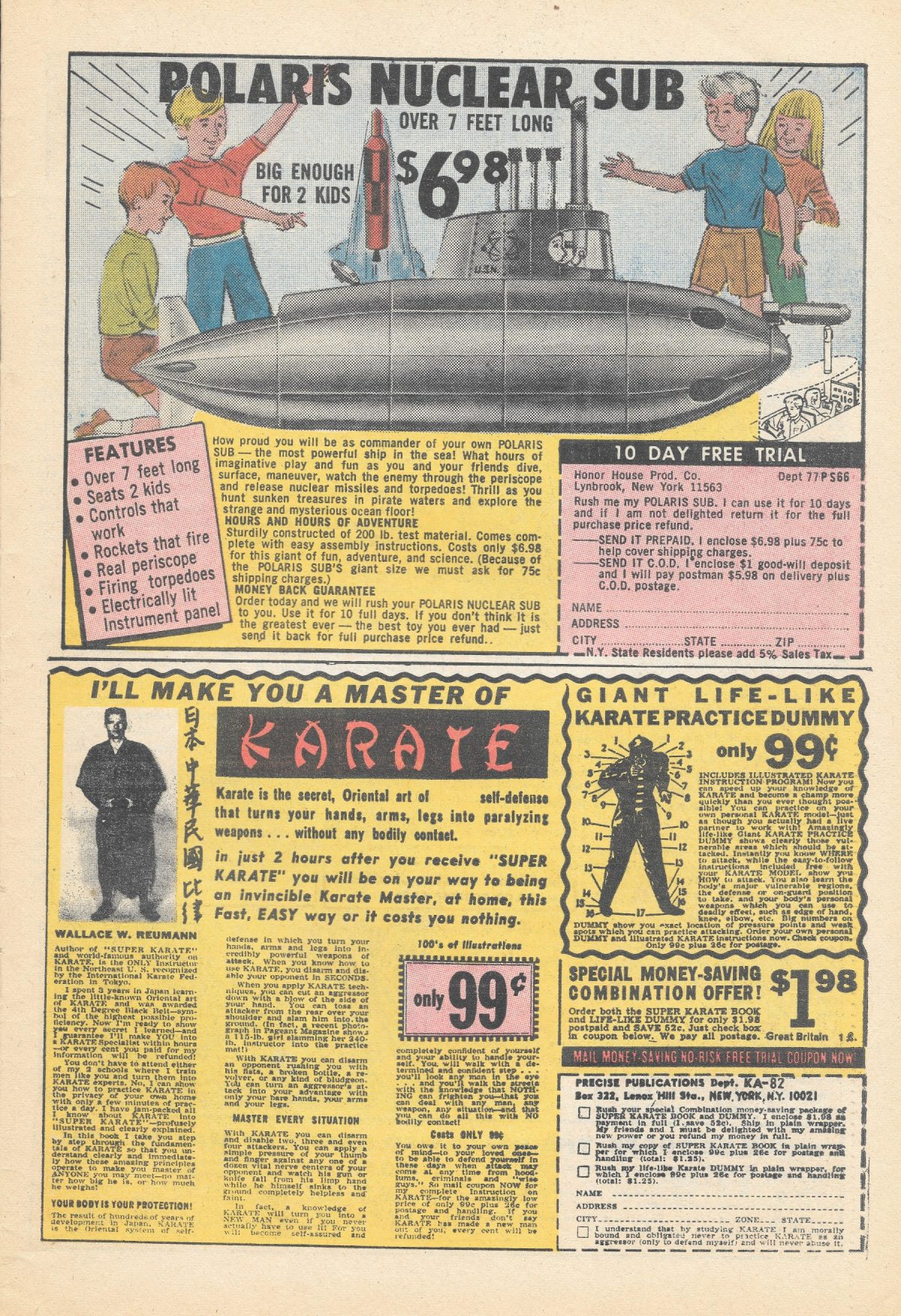 adverts, American, comics, 1960s, 1970s, submarine Sea Monkeys, X-Ray Specs, comic book ads Harold von Braunhut