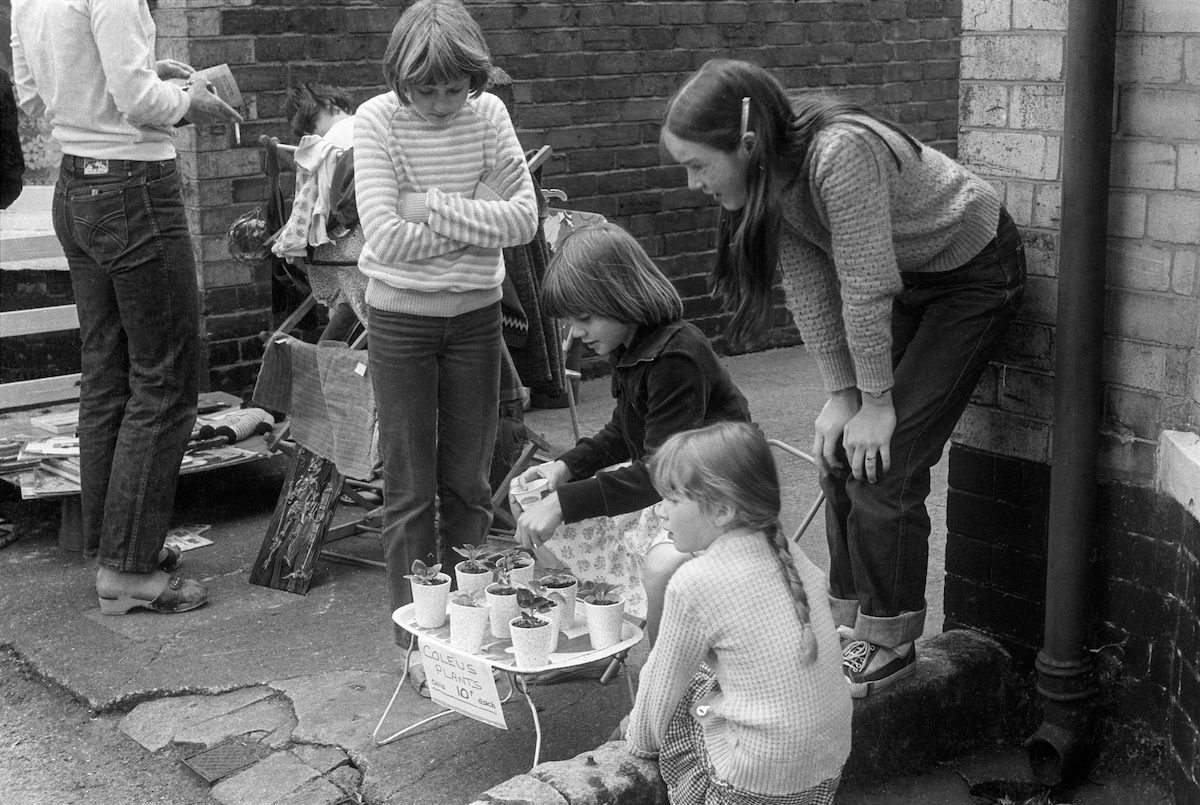 Childrens sale on street, North Hull, 1981