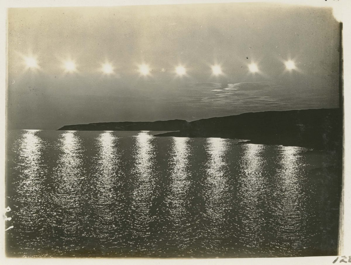Eight exposures of midnight sun in Smith Sound from Sunrise Point begin 11pm 20th century Greenland Image July 25, 1917