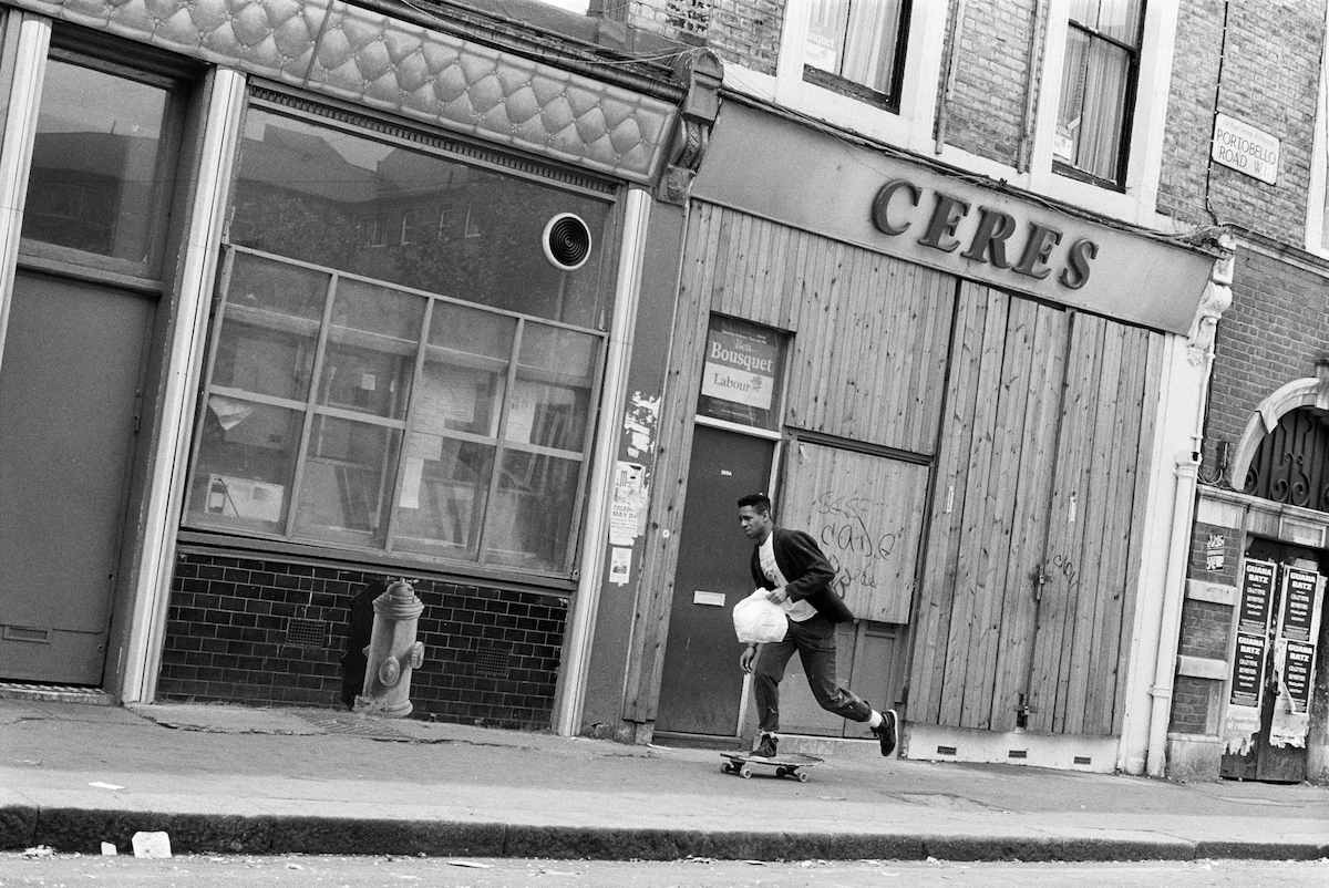Man on Skateboard, Portobello Rd, Notting Hill, Kensington & Chelsea, 1987