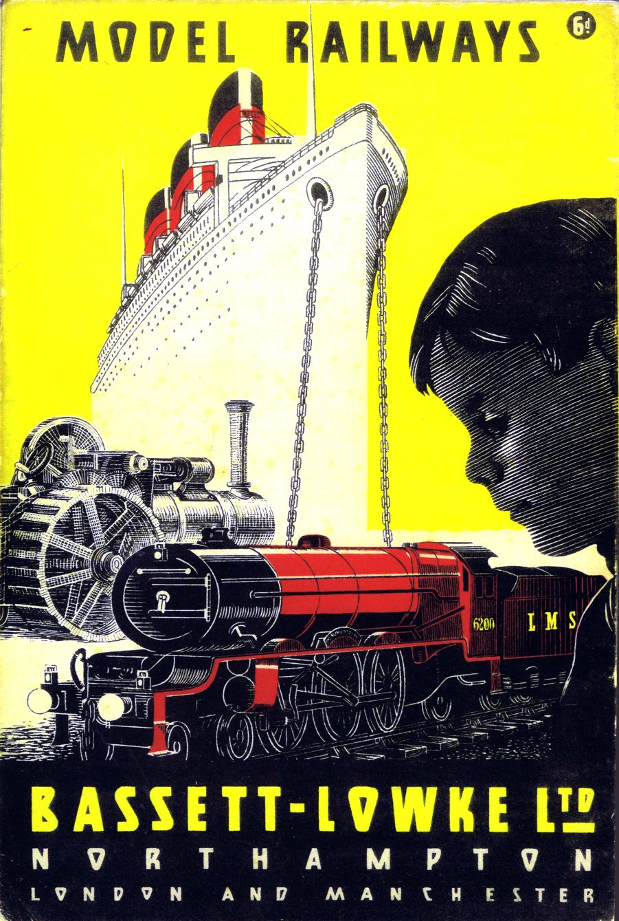 """Model Railways"", Bassett-Lowke Ltd., catalogue, front cover, yellow and black"