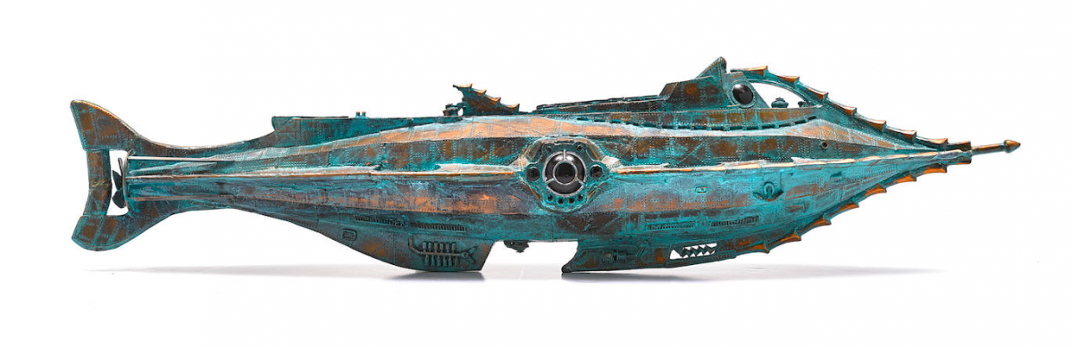 Resin model with other materials, painted. A striking replica of Goff's Nautilus, made and gifted to him by his dear friend and protégé, 20,000 Leagues Under the Sea fan