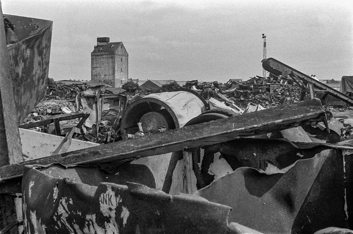 Scrap metal, River Hull. North Hull, 1987