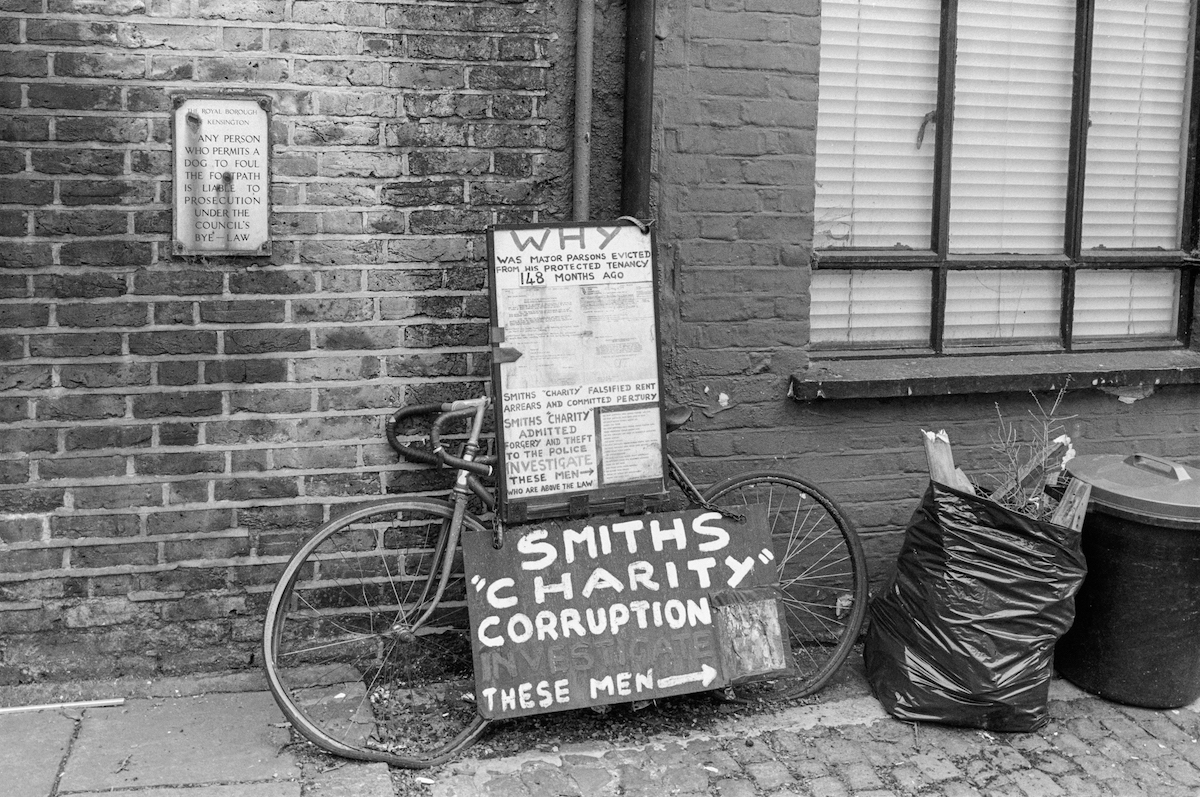 Smiths Charity, corruption, Cranley Mews, South Kensington, Kensington & Chelsea, 1988