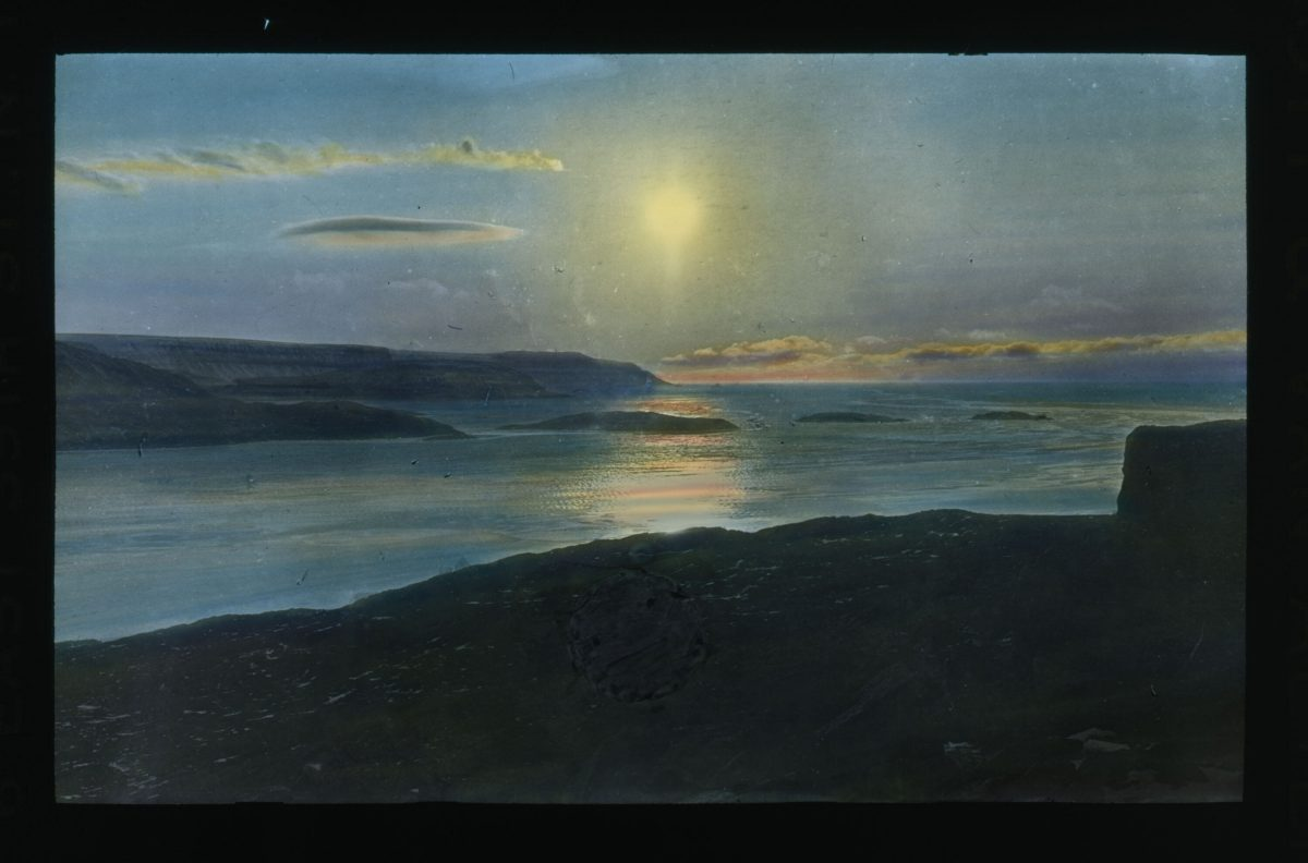 Sunrise:set. Color reflection on clouds and water image 1913-1917
