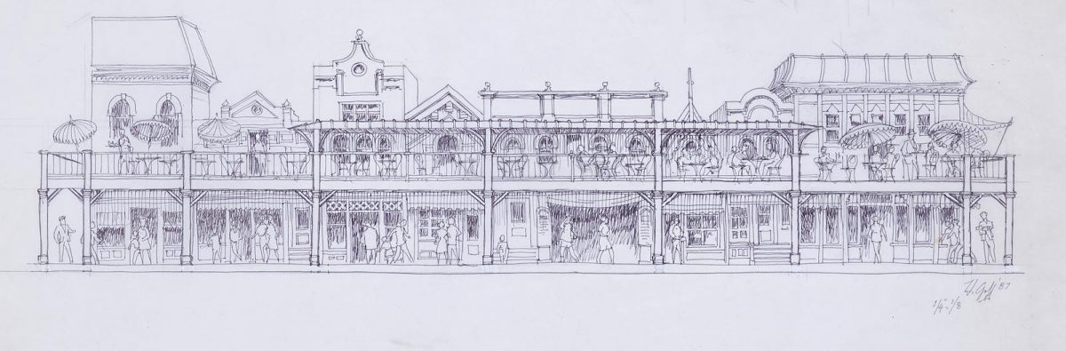 A design drawing of an unrealized concept for a group of stores and restaurants along the upper floor of the buildings on the 600 Block of Disneyland's Main Street.