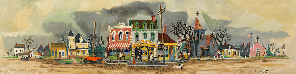 Goff's Hometown Main Street is a long, narrow painting depicting a quintessential American small-town street, with houses, a grocery, a movie theater, drugstore, church, school, and playground.