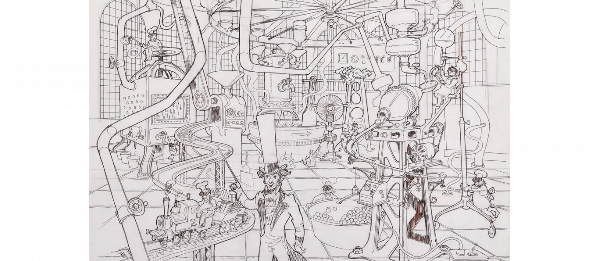 A stunning drawing of one of Goff's alternate, larger, and more elaborate Factory interior designs. Willy Wonka is depicted at center surrounded by Oompa-Loompas at work.